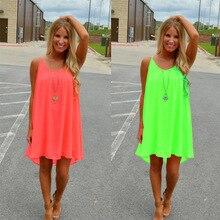 Women beach dress fluorescence female summer dress