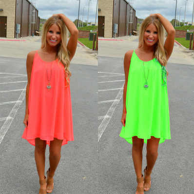 Wanita Pantai Fluoresensi Wanita Musim Panas Gaun Sifon Voile Wanita Gaun Musim Panas Wanita Pakaian Ukuran Lyq01