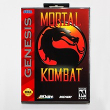 Mortal Kombat 16 bit MD card with Retail box for Sega MegaDrive Video Game console system