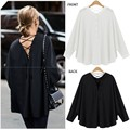 2017 Women Casual Long Sleeve Blouse Chiffon Summer Shirt Sexy Backless Tops M-3XL Plus Size Black White