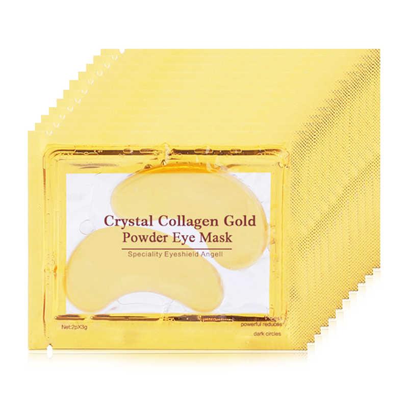 2 adet/1 Çift Altın Kristal Kollajen Göz Maskesi Uyku Göz Yamalar Yüz Bakımı için Koyu Halkalar Kaldırmak Yaşlanmayan nemlendirici jel maske