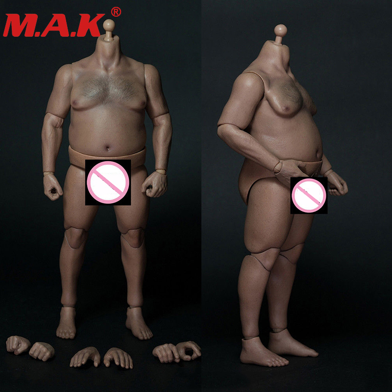 1/6 scale male man plump fat strong <font><b>body</b></font> with chest hair for 12 inches men head sculpt gift for husband lose weight image
