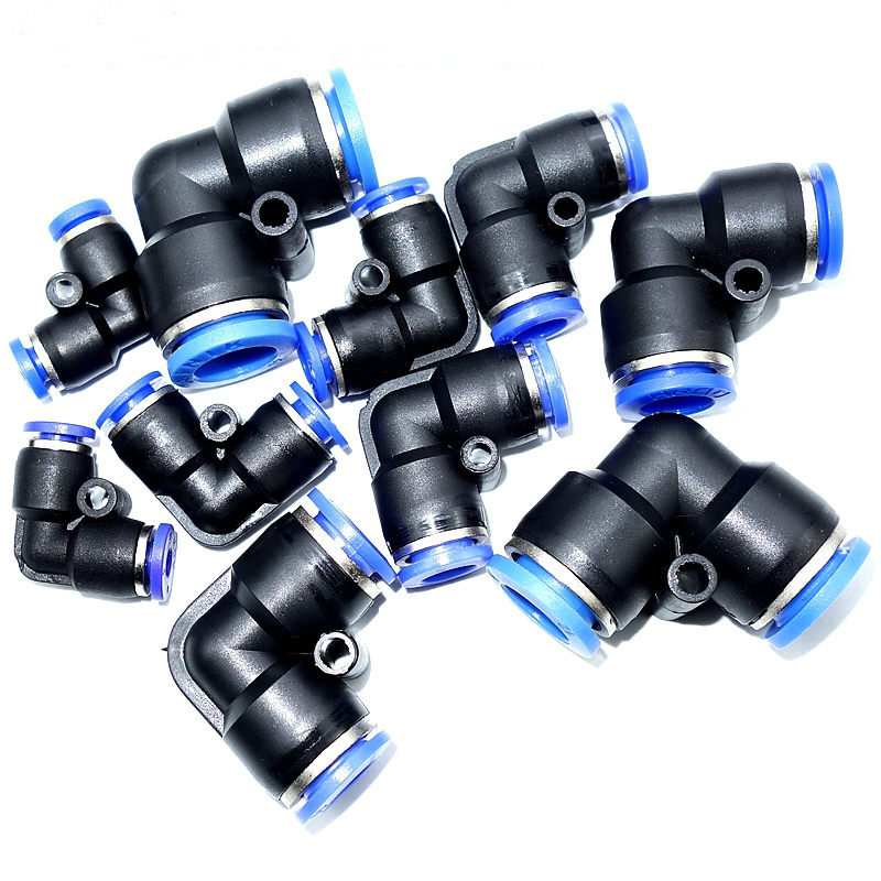 4mm 6mm 8mm 10mm 12mm Tube OD 90 Degree Equal Union Elbow Air Pneumatic Push In Connector Quick Connection Fitting