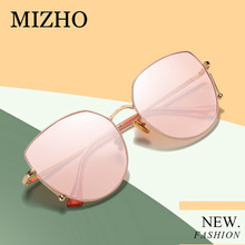 MIZHO Future Copper Metal Polarized Sunglasses Women Cat eye Mirror UV400 Eyewear Trendy Sun Glasses Clear Visual PINK