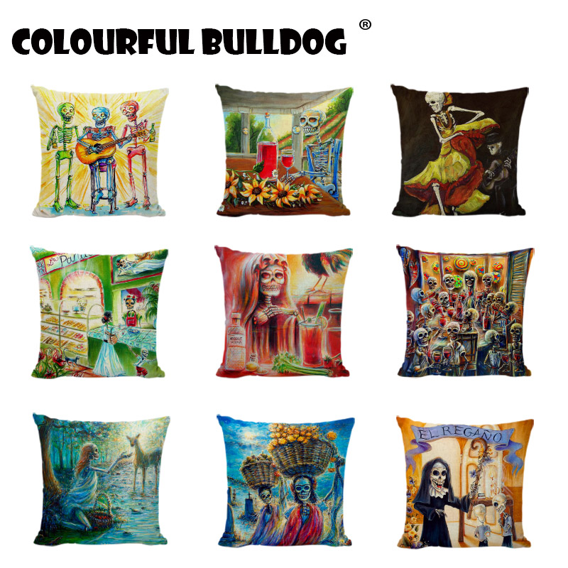 Sugar Skull Throw Cushion Cover Mexican Dancer Linen Cotton day of the dead Home Decorative Happy Camper Gifts Throw Pillow Case