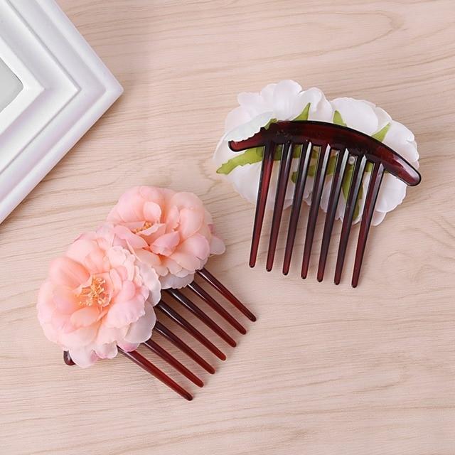 Double silk rose flower hair combs hair clip with wedding bridal double silk rose flower hair combs hair clip with wedding bridal party beachy mightylinksfo