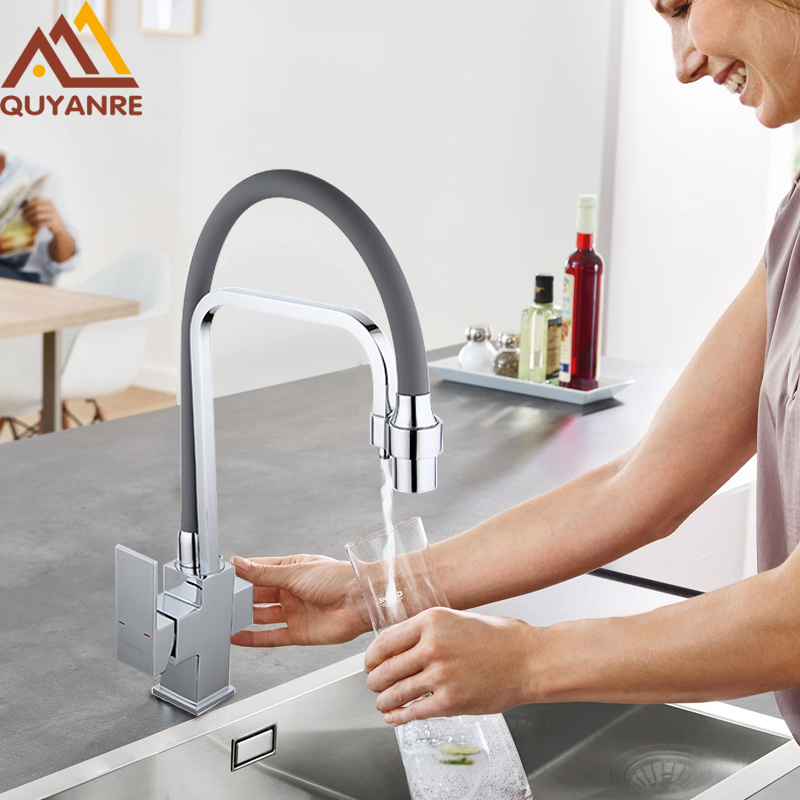 Quyanre water filter taps water mixer Brass kitchen sink faucet kitchen mixers crane taps filter kitchen faucet tap water faucet kitchen as resin faucet filter transparent blue