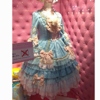 New! blue Sweet Lolita Dress Short skirt Dress Cosplay dress V 956