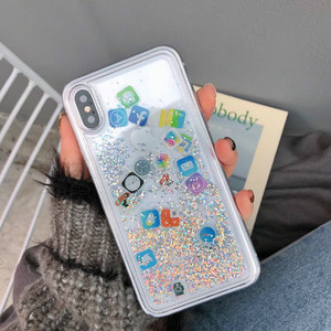 Image 3 - For iPhone 8 Liquid Hard PC Clear Phone Shell For iPhone 6 6S 7 8 Plus X XS XR MAX Cases Quicksand Cover Cute APP icon Case Capa