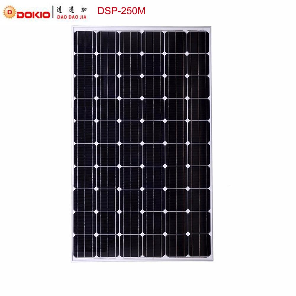 Dokio Brand 250W Monocrystalline Silicon Solar Panel China 30V 1640x980x40MM Size Top Quality Solar Battery China #DSP-250M