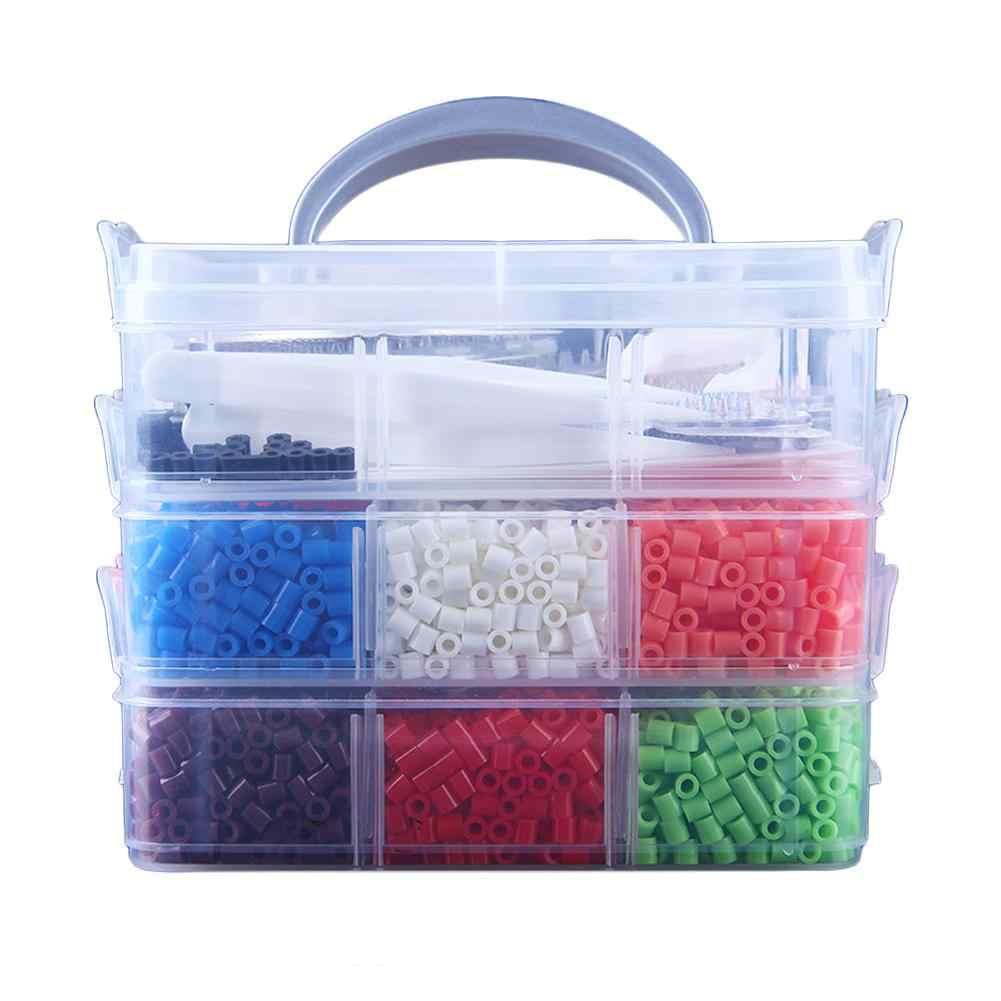 Puzzle DIY Orangtua-Anak Buatan Tangan Puzzle 9000 PC Fuse Bead Super Kit Hewan Pegboards dan Template 12 warna 6 Peg Papan Menjepit
