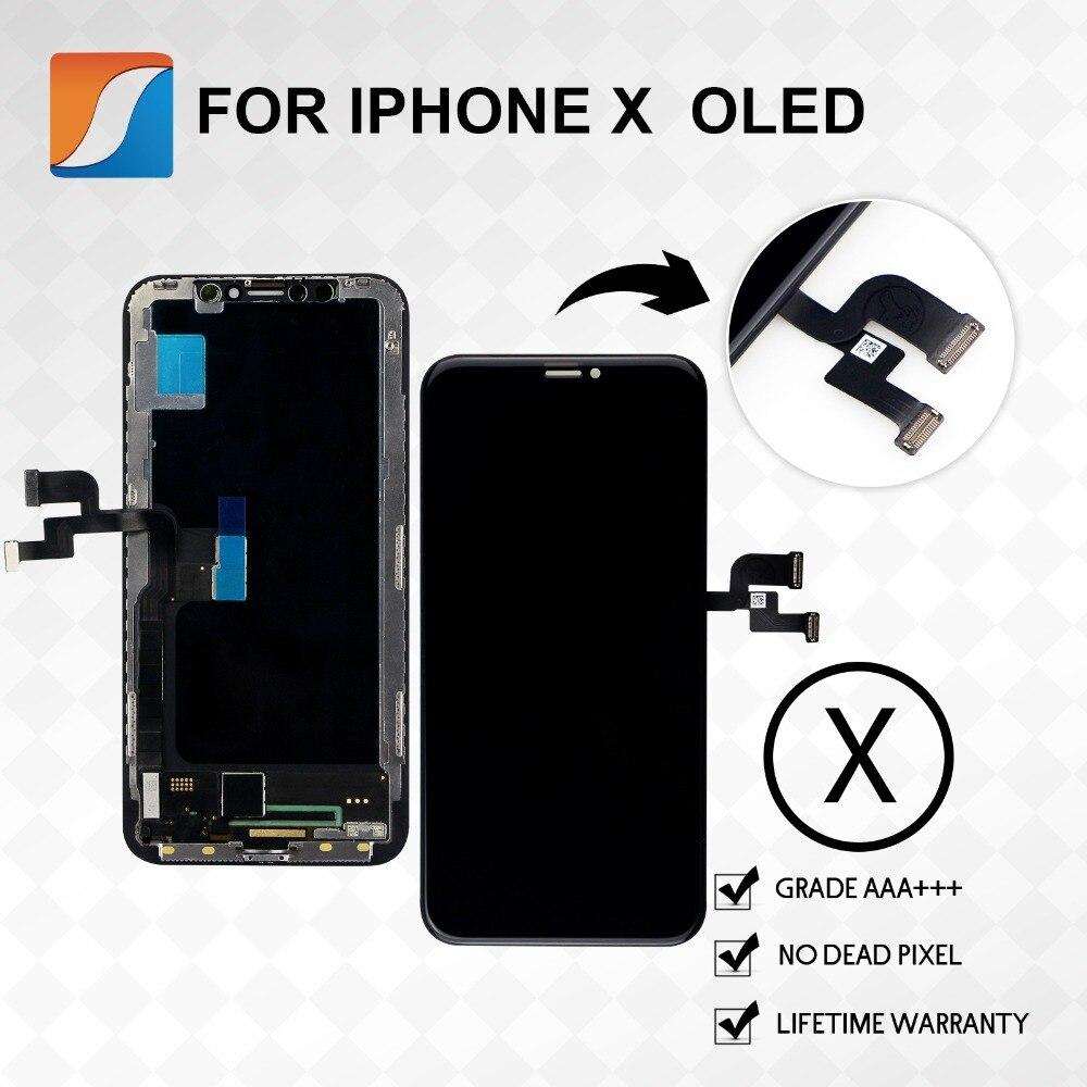 10 pcs/lot AAA + + + Pour iPhone X Écran de Remplacement Avec OLED L'assemblée Affichage TFT LCD D'origine Qualité Aucun Pixel Mort livraison Gratuite