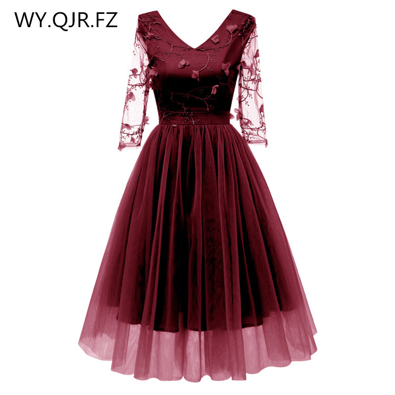 CD1668#Net Yarn Lace Embroidery Wine Red Short Bridesmaid Dresses Bride' Wedding Toasts Party Dress Gown Prom Wholesale Clothing