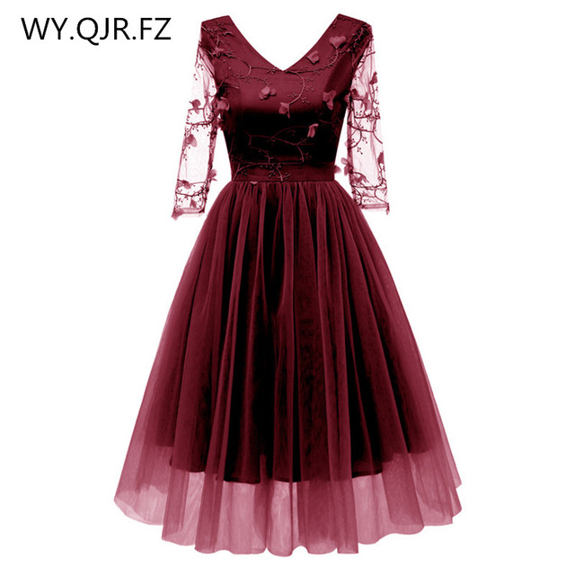 CD1668 Net yarn Lace embroidery Wine red Short Bridesmaid dresses bride   wedding toasts party dress gown prom wholesale clothing 704106cdc29a