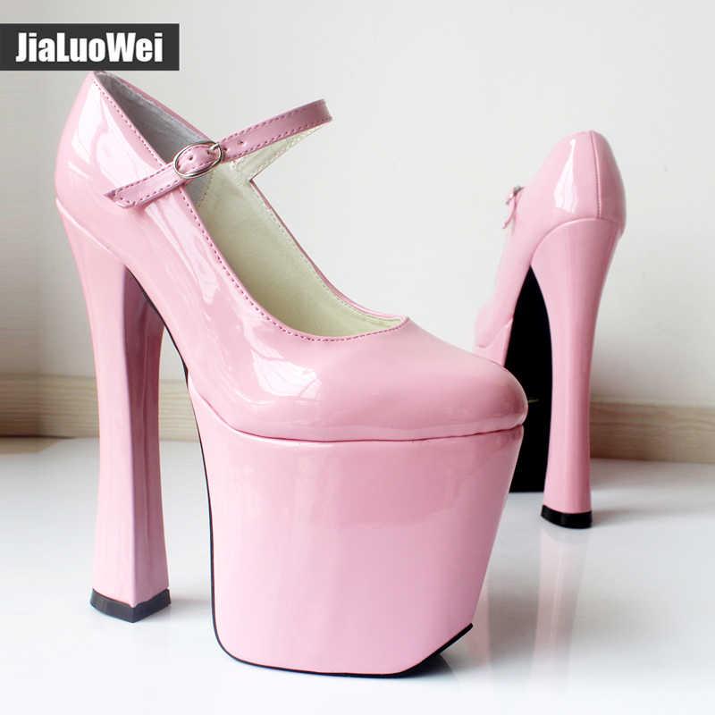 "Siyah patent platformu Mary Janes tıknaz 7 1/2 ""topuk 3 1/2"" platformu yüksek topuk Cosplay ayakkabı"