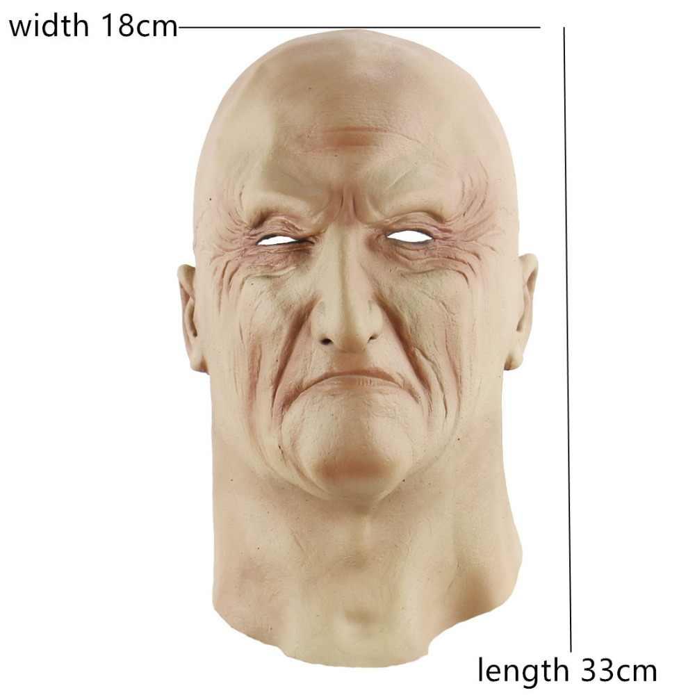 Realistic Velho Homem Máscara De Látex Masculino Cabeça Cheia de Borracha Adulto Fancy Dress Masquerade Máscaras Do Partido Do Disfarce do Dia Das Bruxas Adereços Cosplay