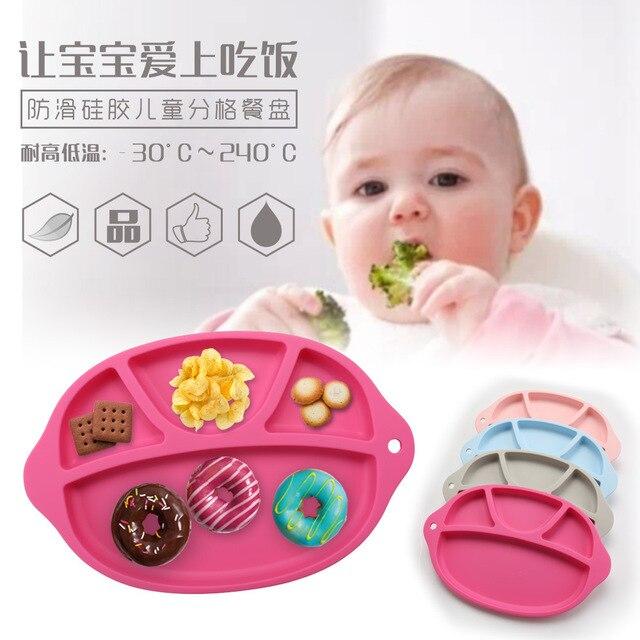Silicone de Grau alimentar Placas de Mesa Infantil Separado Integrado Sub-Placa Placa Prato de Frutas Pratos pratos Utensílios De Mesa Do Bebê das Crianças