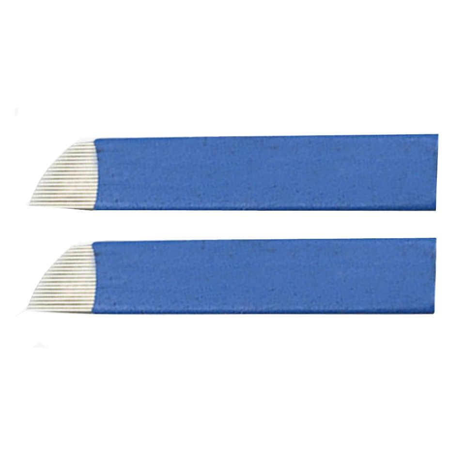 5ชิ้น/ล็อตทิ้งสีฟ้าถาวร12 14 16 17 18ขาคู่มือคิ้วเข็มสักใบสำหรับ3Dเย็บปักถักร้อยM Icrobladingปากกา