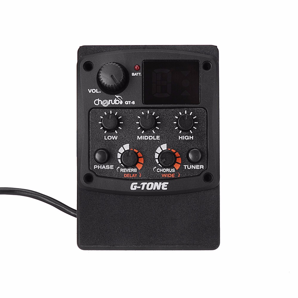 3-Band Acoustic Guitar Equalizer EQ PreAmp Pickup Amplifier LCD Tuner with Reverb Delay Chorus Phase Wide Effects - No Battery joyo eq 307 folk guitarra 5 band eq acoutsic guitar equalizer high sensibility presence adjustable with phase effect and tuner