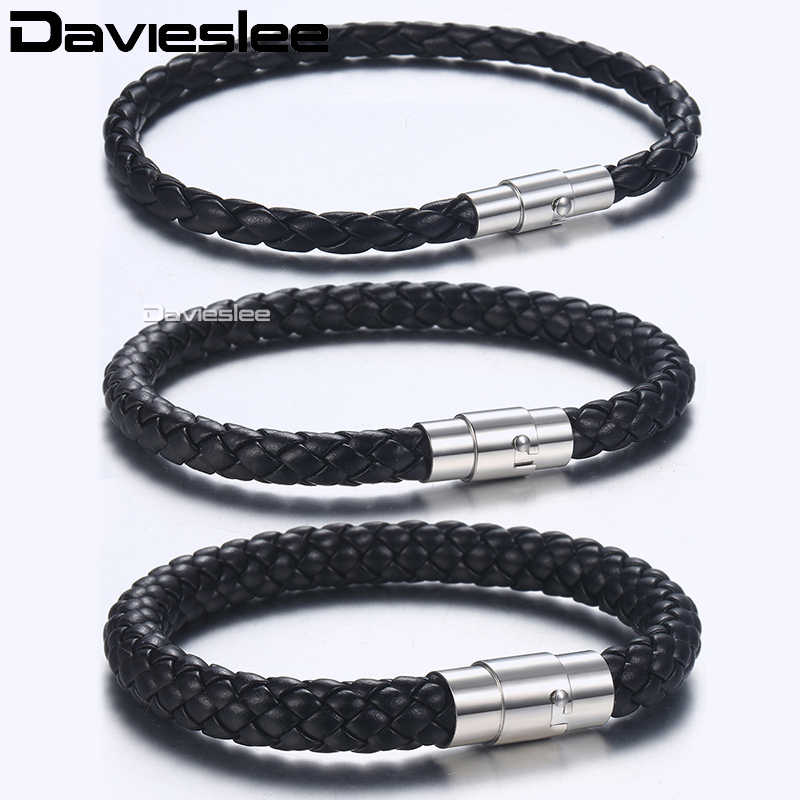 Davieslee Mens Bracelet Brown Black Braided Leather Bracelets for Men Stainless Steel Clasp Wholesale Jewelry 4 6 8mm LLBM118