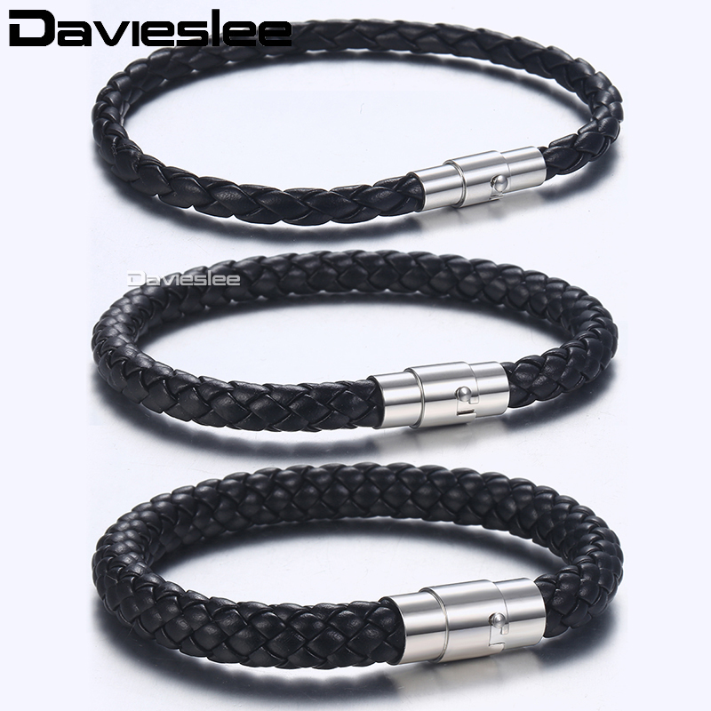 Davieslee 4/6/8mm Mens Leather Bracelet Brown Black Wholesale Bracelets Cord with Silver Stainless Steel Clasp 20/23/25cm LBM118