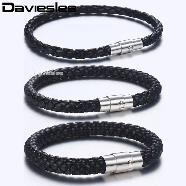 Davieslee Mens Bracelet Brown Black Braided Leather Bracelets for Men Stainless
