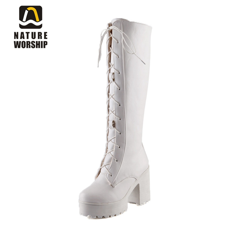 Nature Worship New Fashion For Women High Square Heels Boots Platform Seay Shoes Lace Up Long Winter Warm Ladies Boots Big Size