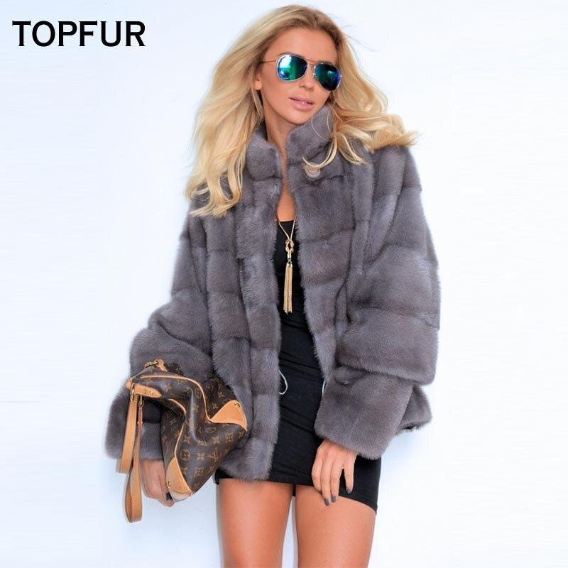 Amovible Nouveau De Luxe Mince Gray Gray Courtes Fourrure Light Manteau 2018 Outwear Rue Vison Haute Topfur Femmes Vestes Réel Manches Solide dark 6AFgwnvpq