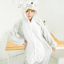 Rat Animal Hoodie One-Piece Pajamas Winter Adult Onesie Men Cartoon Kigurumi Women Couple Sleepwear Pijama Dragon Pyjama