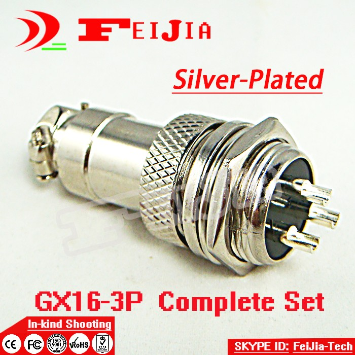 10set/pack 3 Pin 16mm [Silver-plated] Wire Panel Connector kit GX16-3P Socket+Plug,RS765 Aviation plug interface Free Shopping pin 100 pack cy3121 nickel plated pushpin wall nail taciturnly pin
