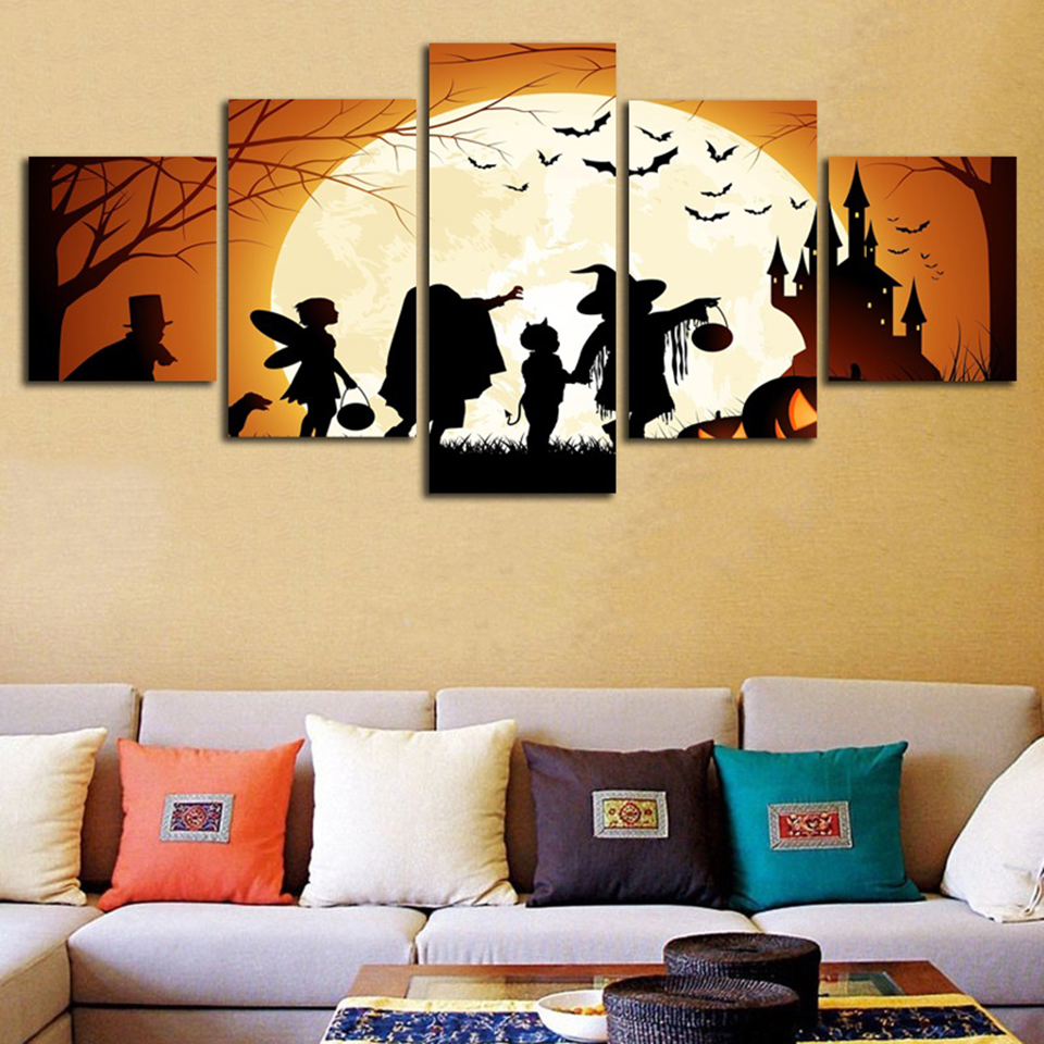 Wall For Living Room Modular Frame Painting 5 Panel Cartoon ...