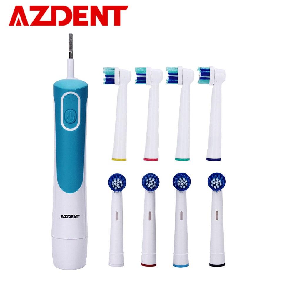 AZDENT Nouveau Acheter 1 Obtenir 8 Chefs Brosse À Dents Électrique Rotatif Type Batterie Exploité Brosse à Dents Blanchiment Des Dents pour Adultes Pas de charge
