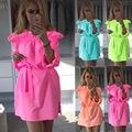 S-xl 2017 nova moda primavera verão sólida fluorescente doces cinto de cor fora do ombro ruffles curto dress fino mais tamanho vestidos