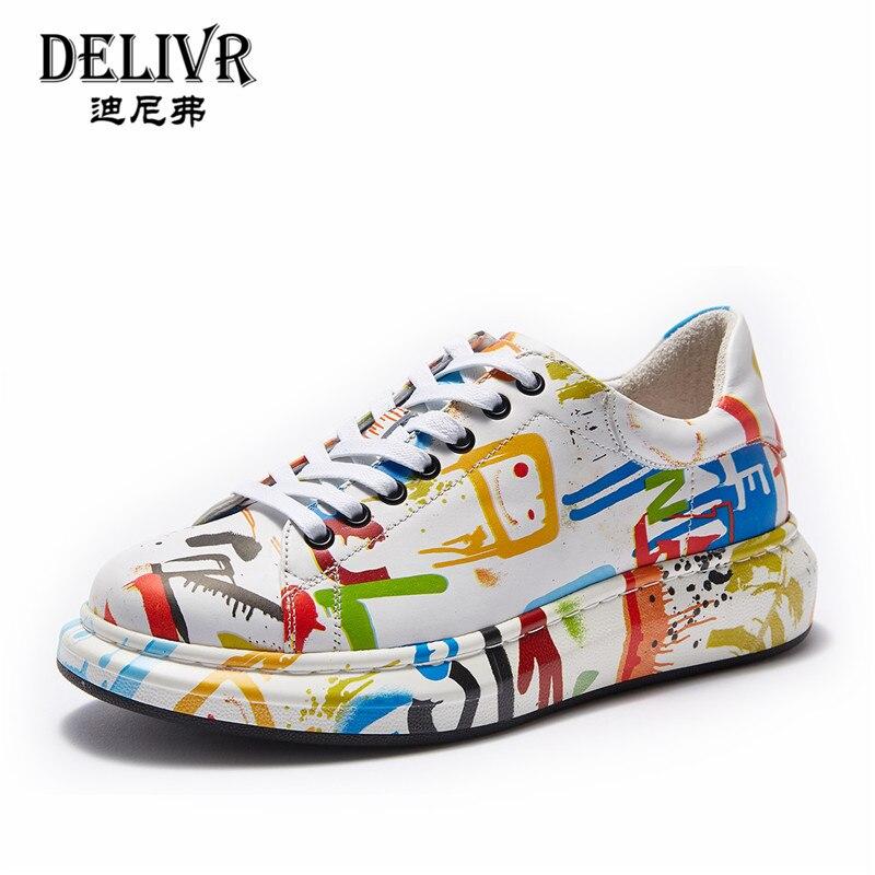 Turnschuhe Marke Mehrfach Delivr Low Top Gemalt Outdoor Leder Designer Männer Luxus Herren 2019 Casual Aus Echtem Graffiti Schuhe CxqaCBY