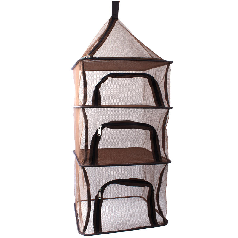 4 Layer Camping Cookware Storage Bag Drawstring Hanging Mesh Pouch Organizer