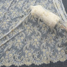 3 meters  gold eyelash lace fabric with tail design , French chantilly soft and flowy bridal gown 150cm wide