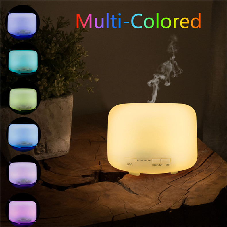 Warm Night Light 360 degrees Mist outlet Humidifier 500ML Aroma Diffuser EU US plug Time Setting Auto Stop 14 hours working time night shall overtake us