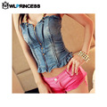 Owlprincess Nightclub Wrapped Chest V-Neck Blue Denim Vest  Sexy Women Strapless Flounced Tops Bandage Zipper Vest Jeans