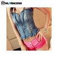 Owlprincess Nightclub envolvido no peito com decote em V azul Denim colete mulheres Sexy Strapless babados encabeça bandagem zíper colete Jeans