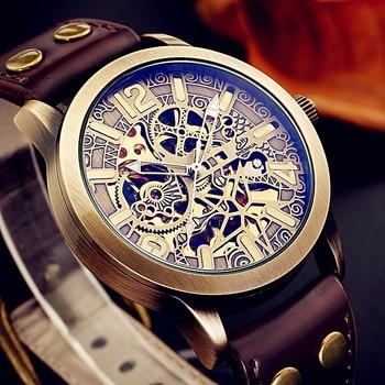 Shenhua New Style Hollow Out Luxury Brand Men's Retro Bronze Steampunk Automatic Skeleton Leather Sport Mechanical Wrist Watch