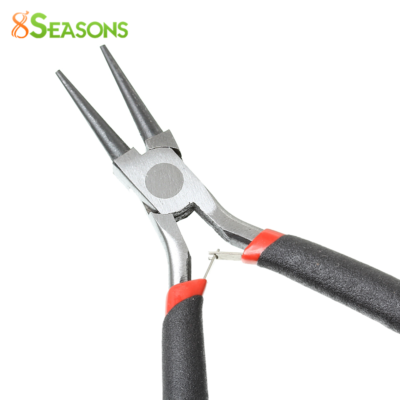 8SEASONS Iron Stainless Steel Needle Nose Pliers Jewelry Making Hand Jewelry Tools Black 12.5cm(4 7/8''),1 Piece (B33699)
