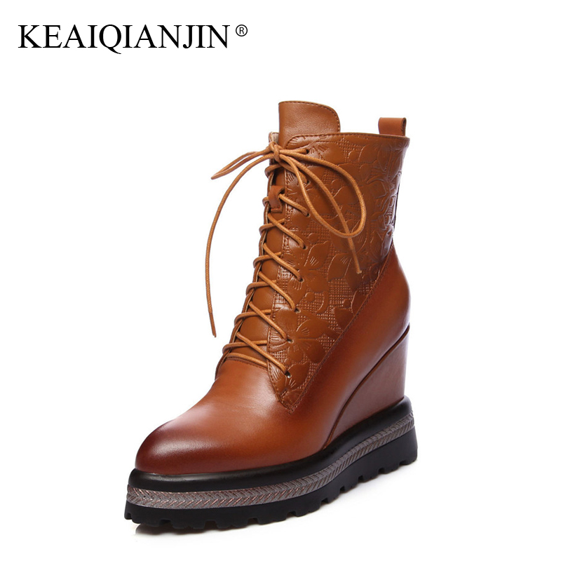 KEAIQIANJIN Woman Wedges Ankle Boots Autumn Winter Pointed Toe High Heel Boots Black Brown Lace Up Genuine Leather Martins Botas front lace up casual ankle boots autumn vintage brown new booties flat genuine leather suede shoes round toe fall female fashion