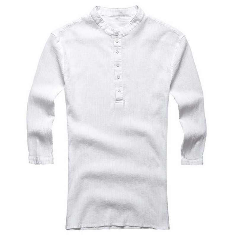Litthing Mannen Casual Shirts Lange Mouwen Solid Lace Up Tuniek Tops Mannen Vintage Slanke Mannelijke Blouse Chemise 2019 Herfst Plus size S-3XL