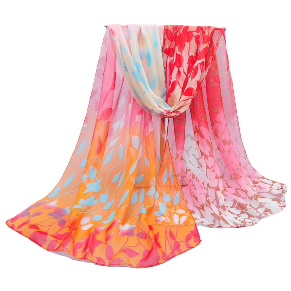 Floral Print Women Girls Summer Sun Protection   Scarf   Shawls Breathable Chiffon Long Sunblock Beach   Scarves     Wraps   160x50cm