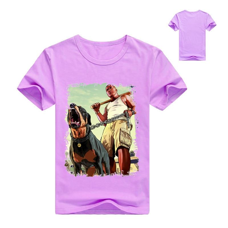 US $4 0 15% OFF|2 12T Boys Short Sleeve T shirt 5 Gta V Poster Teenage Top  Model Kids Summer Clothes Children Clothing Lilica Ripilica Infantil-in