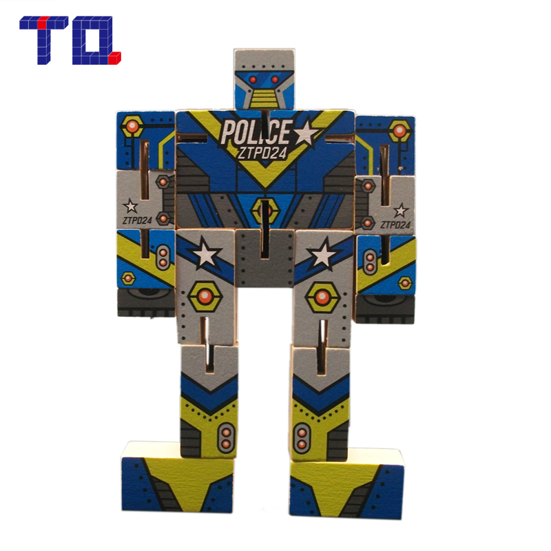 Robot Jigsaw Puzzles Game Wooden Fidget Toys Educational Brinquedos for Children Kids Gifts