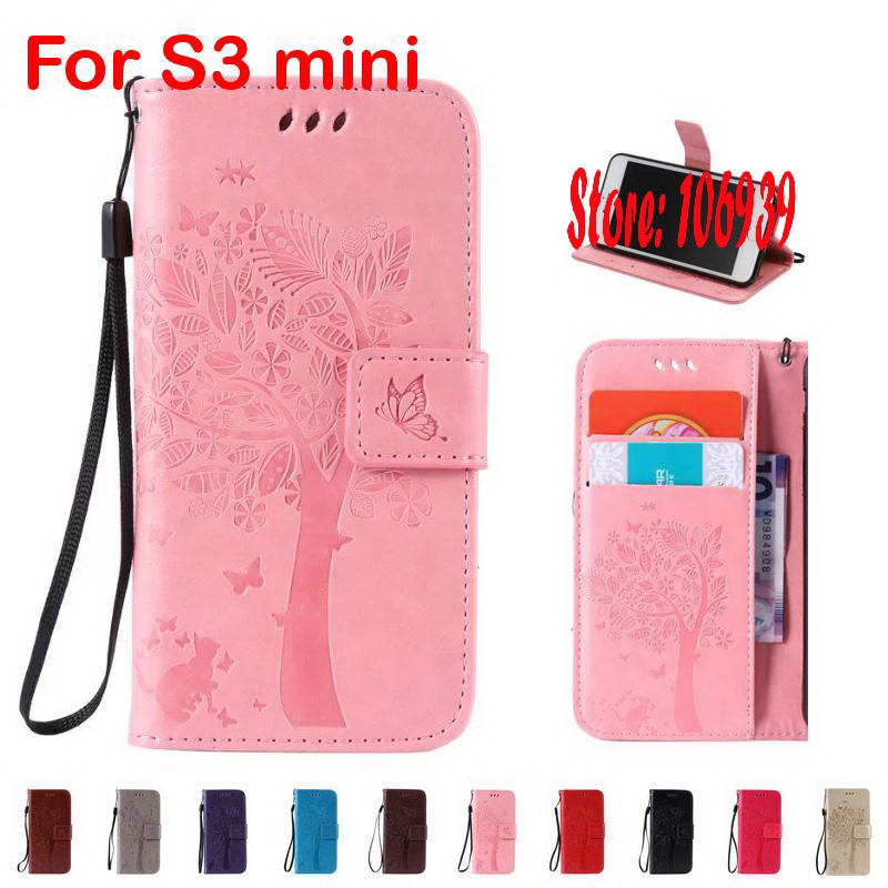 Best Cheap Luxury Fashion Tree Cat Butterfly PU Leather Book Wallet Girl Wallt Case caso Cove For Samsung Galaxy S3 mini Pink