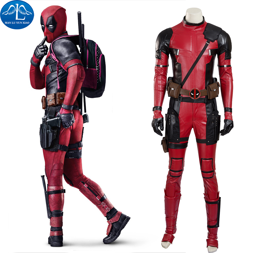 Deadpool Costume Halloween Superhero Red Leather Deadpool Jumpsuit Deadpool Cosplay Costume Men Full Set Custom Made in Movie TV costumes from Novelty Special Use