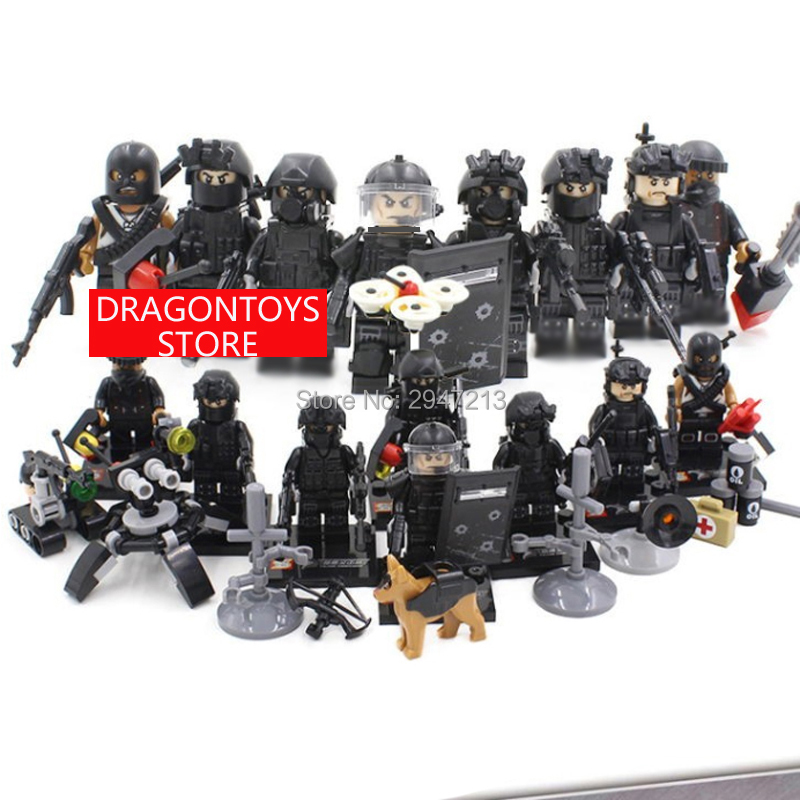 hot compatible LegoINGlys military SWAT city Police series Building Blocks Swat Squad Commando fugures Weapons brick toys gift military city police swat team army soldiers with weapons ww2 building blocks toys for children gift