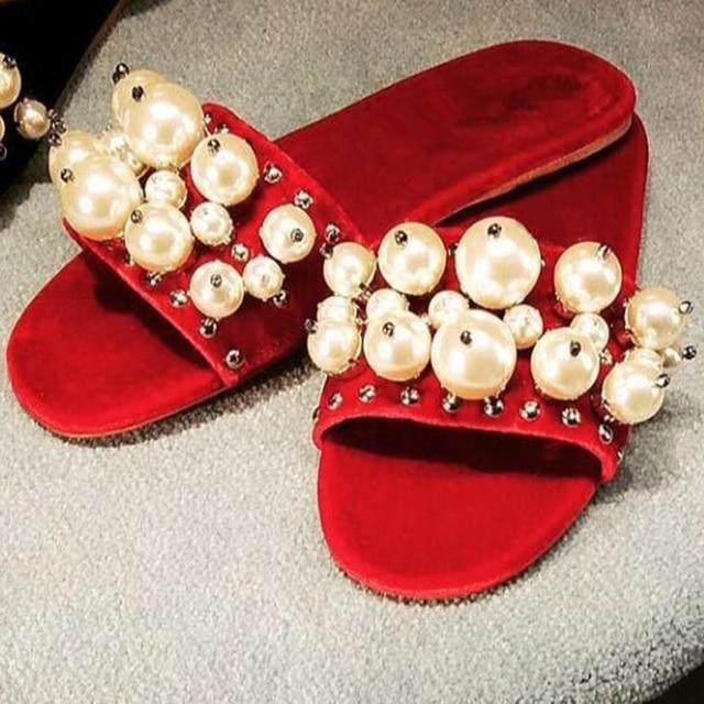 5d4ac84dc4dc1 Girl's Luxury Soft Velvet Pearls Flat Slippers Women Open Toe Big White  Pearl Bead Rivets Studs Shoes Female Flat Casual Slides